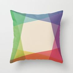 16x16 Colorful Geometric Throw Pillow COVER by iamchristinabot, $20.00