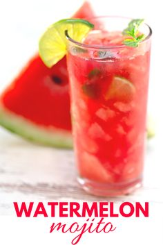 Watermelon Mojito - Get Healthy U - - Sip on the flavors of Summer with this healthy watermelon mojito cocktail recipe. Easy, sweet, delicious, and only 214 calories per serving! Yummy Drinks, Fun Drinks, Healthy Drinks, Get Healthy, Alcoholic Drinks With Mint, Refreshing Summer Drinks, Beverages, Summer Drink Recipes, Alcohol Drink Recipes
