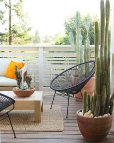 Neutral rug. Acapulco chair. Greenery. Low coffee table for the feets. Balcony Design, Fence Design, Patio Design, House Design, Chair Design, Balcony Chairs, Backyard Chairs, Room Chairs, Acapulco Chair