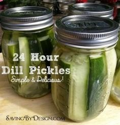 There's nothing better than a cold, crisp, fresh pickle to go with those burgers and dogs.  Take a look at these Easy 24 Hour Dill Pickles and whip up a batch to enjoy tomorrow!