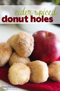 "SUPER FAST cider spiced donut holes--make these with store-bought biscuit dough in a can. Troop makes donut holes all the time, I like the idea of the ""cider"" sugar mixture. Just Desserts, Delicious Desserts, Yummy Food, Delicious Donuts, Healthy Food, Breakfast Recipes, Dessert Recipes, Donut Recipes, Breakfast Items"