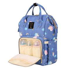 Sunveno - Diaper Bags - Unicorn Blue  Product details For the Stylish and Traveller Mom's, this Unicorn Diaper Bag is the best. This Sunveno diaper bag comes with beautiful unicorn print and a lovely subtle blue color to make this extremely spacious bag, turn heads around. The wide zipper opening with metal support and beautifully crafted golden zippers give this bag a royal look. Despite all the space and accessories, this a light weight bag weighing only 750 gms, Not even a Kg! The unique feat Trendy Diaper Bags, Large Diaper Bags, Travel Backpack, Travel Bags, Sunveno Diaper Bag, Nurse Bag, Weight Bags, Stroller Bag, Beautiful Unicorn