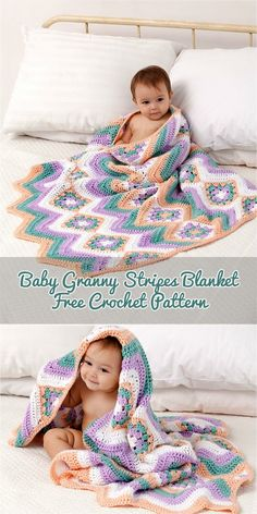 Baby Granny Stripes Blanket [Free Crochet Pattern] #crochet