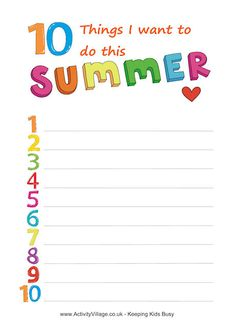 Summer planning printable