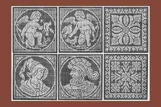 Iva Rose Vintage Reproductions - 1915 Medium Size Filet Lace Squares Chart Pack - Twelve Designs.