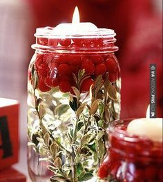 Awesome! - greenery, cranberries, water and floating candle | CHECK OUT MORE GREAT RED WEDDING IDEAS AT WEDDINGPINS.NET | #weddings #wedding #red #redwedding #thecolorred #events #forweddings #ilovered #purple #fire #bright #hot #love #romance #valentines