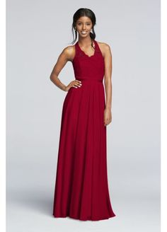 Long Mesh Dress with Lace Halter Bodice F19025  $236.98  http://www.davidsbridal.com/Product_long-mesh-dress-with-lace-halter-bodice-f19025