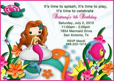Deb's Party Designs - Little Mermaid Birthday Invitation, $1.00 (http://www.debspartydesigns.com/little-mermaid-birthday-invitation/)