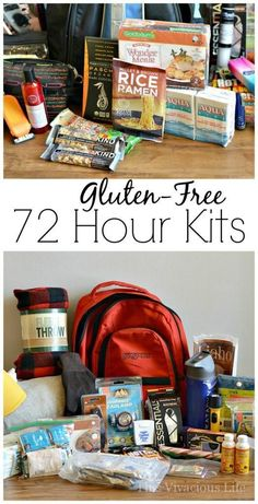 These gluten-free 72 hour kits are perfect for those living with celiac disease or gluten-free. They are all you need come an emergency. 72 Hour Emergency Kit, 72 Hour Kits, Emergency Preparedness Kit, Emergency Preparation, Emergency Food, In Case Of Emergency, Emergency Planning, Emergency Supplies, Meal Planning