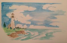 Pen & Ink Lighthouse with watercolor wash.