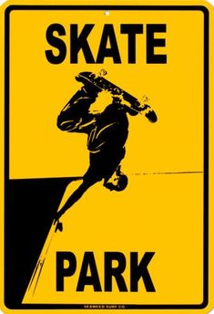 Skate Park Wall Signs Tin Sign - 30 x 46 cm Skateboard Bedroom, Skateboard Decor, Skateboard Party, Skateboard Logo, Skateboard Design, Sports Signs, Sports Wall, Skate And Destroy, Surf Decor