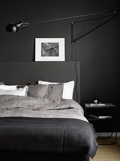 Discover sleek and sexy signature interior styles with the top 50 best black bedroom design ideas. Explore cool dark wall colors and luxury decor accents. Interior Design Examples, Interior Design Inspiration, Modern Bedroom Decor, Home Bedroom, Bedroom Ideas, Bedroom Wall, Trendy Bedroom, Bedroom Inspo, Bedroom Inspiration
