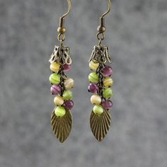 Earrings chandelier dangle copper vintage violet door AniDesignsllc