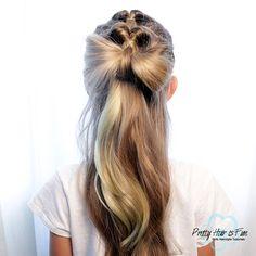 Pretty Hair is Fun: Pull Through Hair Bow Combo Braids Pretty Hairstyles, Easy Hairstyles, Girl Hairstyles, Back To School Hairstyles, Princess Hairstyles, Halloween Hair, Holiday Hairstyles, Braided Ponytail, Hair Bows