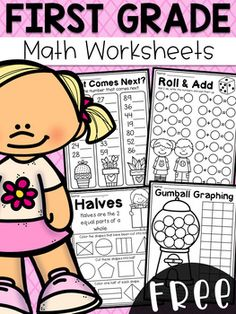 This worksheet pack features 6 engaging math worksheets for first grade students. First Grade Curriculum, First Grade Freebies, First Grade Math Worksheets, First Grade Activities, Teaching First Grade, School Worksheets, 1st Grade Math, Kindergarten Math, Math Activities
