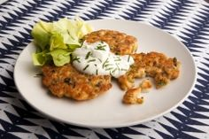Salmon cakes with lemon yogurt sauce (use gluten-free breadcrumbs)