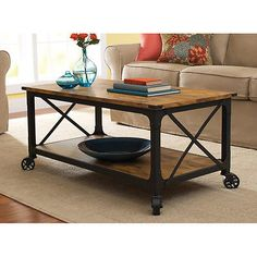 Coffee Table? I like the rustic metal w/ worn wood- and the shelf on bottom.... New Rustic Iron Industrial Look Country Coffee Table Antique Black Pine Wheels