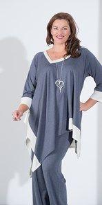 Plus size Kasbah denim cream jersey two tone top Abbigliamento Taglie  Forti bab00a65269