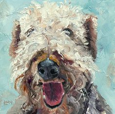 """Fuzzy P - a pup by Saundra Lane Galloway Oil ~ 4"""" x 4"""""""
