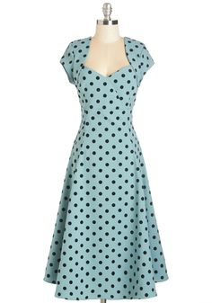 Small Business Spotlight Dress in Dots. When the local news decides to feature your bakery you know youll be donning this rich seafoam dress for the interview! #blue #modcloth