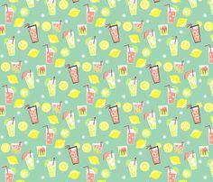 Pink Lemonade on Aqua fabric by tuppencehapenny on Spoonflower - custom fabric