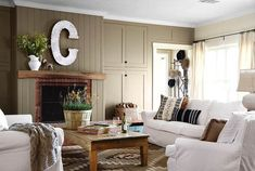 Kombinasi Warna Cat Ruang Tamu Minimalis Brick Fireplace Living Room With Rooms
