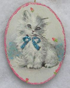 Fluffy White Kitten Rosebuds Cat Greeting Card Glittered Wood Ornament