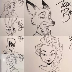 "tombancroft1: "" Even more @Kickstarter Art of Tom Bancroft #headsketches. Only twenty more - or so- to go! @daisyridrey even made the cut this time! #Zootopia #Elsa #deadpool #ariel """