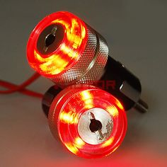 2 Pcs Red Motorcycle 7/8'' Bar End LED Turn Signal Light Fit For Honda Suzuki