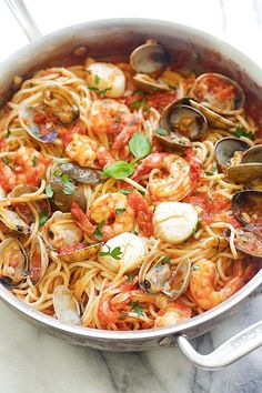 One Pot Seafood Pasta   Food Recipes