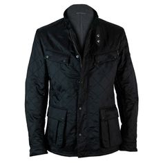 Mens #Barbour Liddesdale Track Quilted #Jacket in Black - front - £109