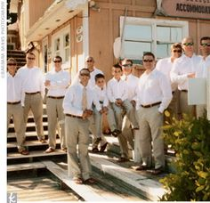 Reese and his brother (the best man) went ubercasual: Reese wore a Banana Republic khaki linen suit, and both wore Tommy Bahama floral ties and leather flip-flops by Rainbow. The groomsmen wore the same Banana Republic linen pants paired with white shirts...