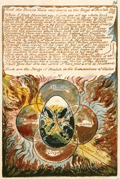 William Blake: 'Milton a Poem', object 36 (Bentley 32, Erdman 33 [36], Keynes 32). Relief and white-line etching, hand colored; 1804 (print date: 1818). Library of Congress, Washington, DC