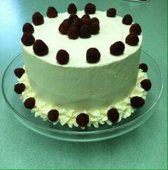 White Cake with Raspberry Filling, White Chocolate Buttercream and Fresh Raspberries