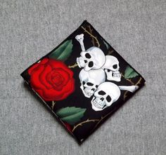 Skull and Roses Pocket Square Goth