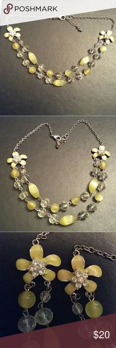 Floral double layer beaded necklace yellow green One floral is darker but it doesn't look as bad or noticeable as in picture Very pretty  No flaws 7500 Jewelry Necklaces