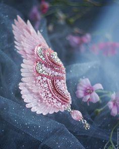 """Купить Брошь крыло """"романтика"""" - spring collection - вышивка, авторская работа, юлия горина"""