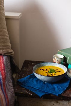 Butternut squash soup with miso, coconut milk, ginger and fresh cilantro. Delicious and flavourful version of classic squash soup. Butternut Squash Soup, Cilantro, Autumn, Vegan, Squash Soup, Fall Season, Fall, Vegans