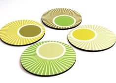 Green Circles Decorative Patterned Kitchen Drink Coasters - Set of 4