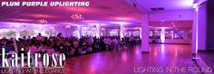 Purple Uplighting inside the Grand ballroom within Palos Country Club.