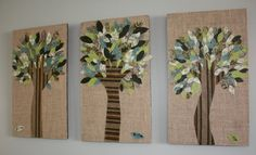 Great idea for using up old fabric or paper.  At Second Street: Mod Podged Hand trees