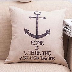Rise World Pillowcase Cotton Linen Square Decorative Cushion Cover Pillowcase Vintage Anchor 18Inch * Click on the image for additional details.