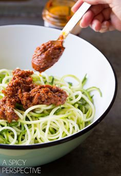 Simple 5-Ingredient Zoodles with Capers and Cherry Tomatoes on ASpicyPerspective.com #raw #healthy
