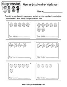 Kids are asked to write the total number of images in each box and then circle the box that has more in this free worksheet.