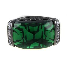 Jean Dousset Black Rhodium Over 9.14ct Absolute & Simulated Emerald Dome Ring 5 #JeanDousset #Dome