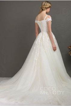 Dreamy A-Line Off The Shoulder Chapel Train Tulle Wedding Dress CWLT13093 - Lily White - Designers #weddingdress #cocomelody