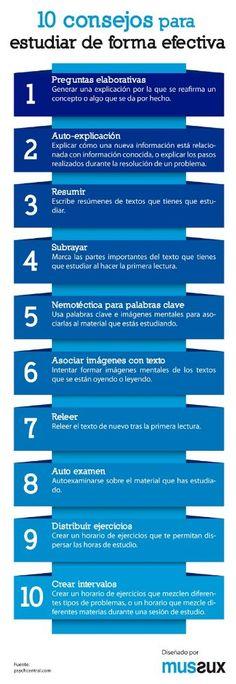 10 consejos para estudiar  de forma efectiva. Vía http://Psychcentral.com  #estudioynomeestreso