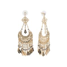 Crystal Fringe Half Moon Statement Earrings ($15) ❤ liked on Polyvore featuring jewelry, earrings, crystal earrings, crystal stone jewelry, statement earrings, fringe earrings and half moon earrings