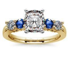 Cushion Round Diamond & Sapphire Gemstone Engagement Ring in Yellow Gold  http://www.brilliance.com/engagement-rings/round-diamond-sapphire-gemstone-ring-yellow-gold