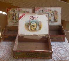 Set of 3 Cinco Vintage Wooden Cigar Boxes, Tobacco Box, Wood Cigar Box, Rustic Wedding Decor, Smoking Tobacco, Cigar Box, Vintage Wooden Box by Lalecreations on Etsy